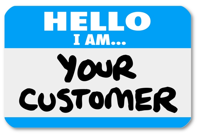 A blue nametag sticker with words Hello I Am Your Customer to re