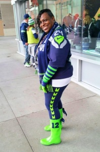 Seattle Seahawks running back Marshawn Lynch's mom rocks her 12thBoot on game day.
