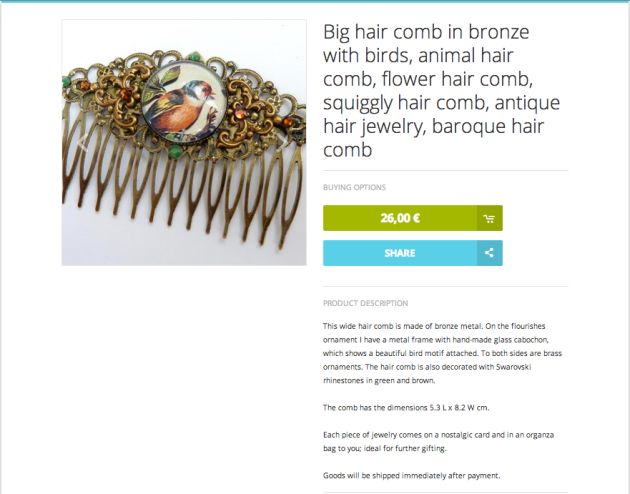 Big Hair Cob in bronze with birds